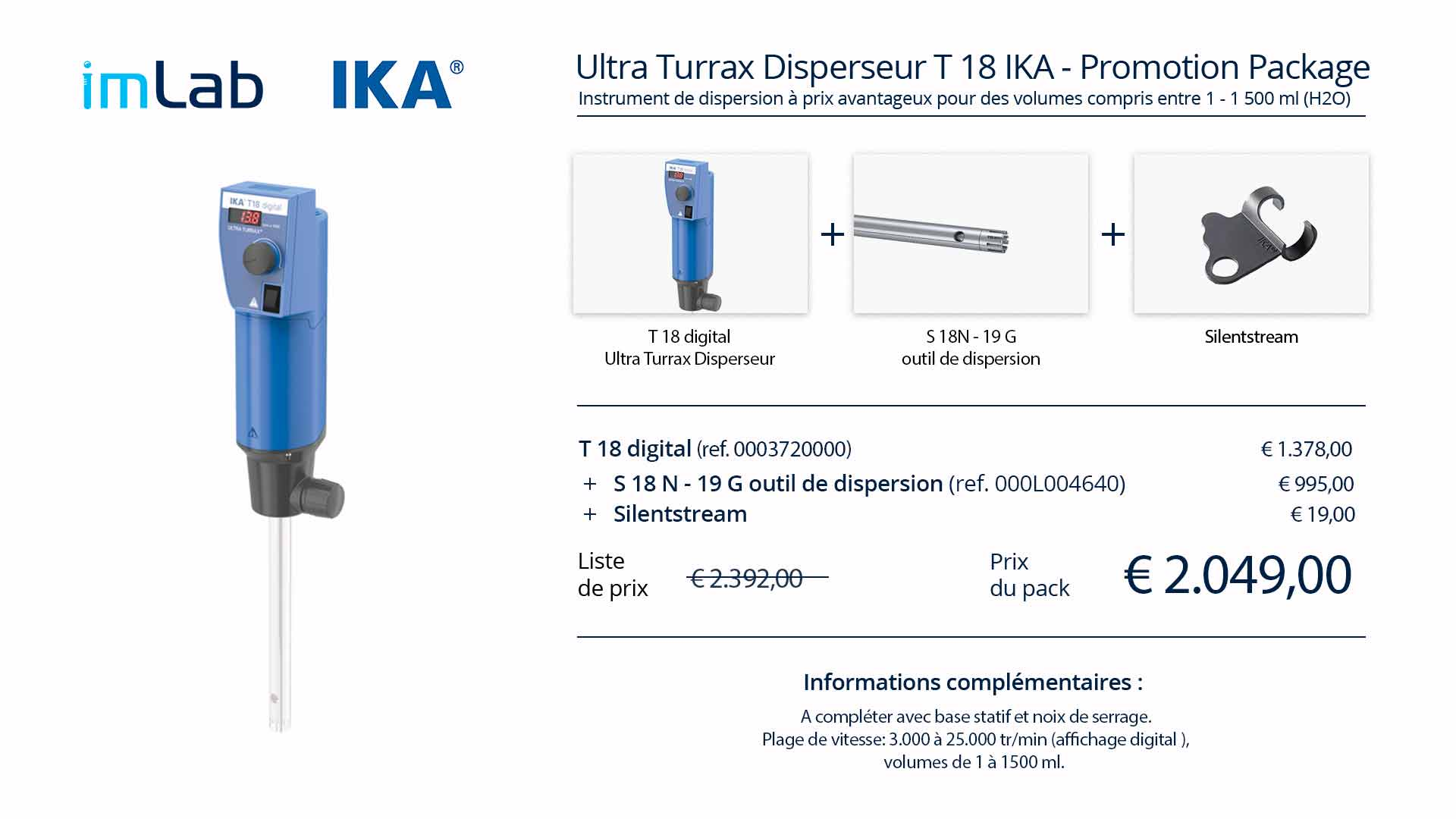Ika promotion T 18 ultra turrax package FR imlab